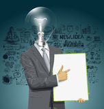 Vector Lamp Head Businessman With Empty Write Board Stock Images