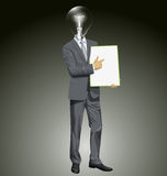 Vector Lamp Head Businessman With Empty Write Board Royalty Free Stock Image