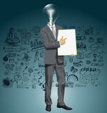Vector Lamp Head Businessman With Empty Write Board Stock Photography