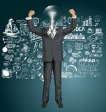 Vector Lamp Head Businessman With Hands Up Royalty Free Stock Photo