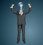 Vector Lamp Head Businessman With Hands Up Stock Photos