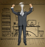 Vector Lamp Head Businessman With Hands Up Stock Images