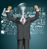 Vector Lamp Head Businessman With Hands Up Royalty Free Stock Photography
