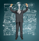 Vector Lamp Head Businessman With Hands Up Stock Photography