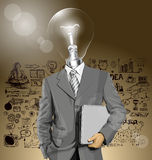 Vector Lamp Head Businessman With Laptop Stock Images