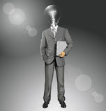 Vector Lamp Head Businessman With Laptop Royalty Free Stock Photo