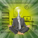 Vector Lamp Head Businessman in Lotus Pose Meditat Stock Images