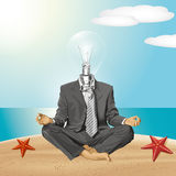 Vector Lamp Head Businessman in Lotus Pose Meditating Stock Images