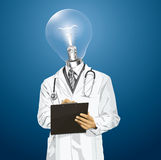 Vector Lamp Head Doctor Man With Clipboard Royalty Free Stock Images
