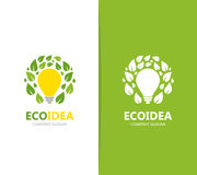 Vector of lamp and leaf logo combination. Idea and eco symbol or icon. Unique organic and light bulb logotype design. Vector logo or icon design element for Stock Photography