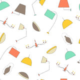 Vector lamps seamless pattern. Color lights on a white background Royalty Free Stock Image