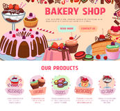 Vector landing page for bakery shop desserts Stock Image