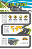 Vector landing page site for road travel company. Road travel company vector landing page or web site layout template with navigation buttons. Tourist trip tour Royalty Free Stock Photos
