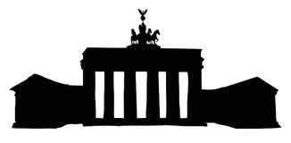 Vector landmark. Sketch of main sights of Berlin - Brandenburg  Royalty Free Stock Image