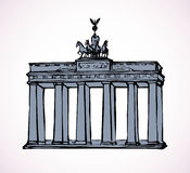Vector landmark. Sketch of main sights of Berlin - Brandenburg g Stock Image