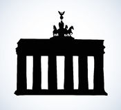 Vector landmark. Sketch of main sights of Berlin - Brandenburg g Royalty Free Stock Image