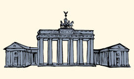 Vector landmark. Sketch of main sights of Berlin - Brandenburg g Stock Photo