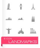 Vector landmarks icon set Royalty Free Stock Images