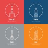 Vector landmarks line art posters Stock Image