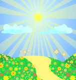Vector landscape. Sun shining over road  surrounded with flowers and buttetfly Stock Image
