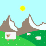 Vector landscape. Vector sheep graze on the grass Stock Image