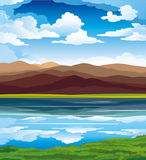 Vector landscape. With mountains, green grass and blue lake on a sky background Royalty Free Stock Images
