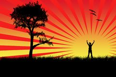 Vector landscape. Landscape of tree, sun, birds and happy boy Stock Photos