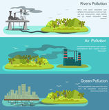 Vector landscape with air, ocean pollution Stock Photography