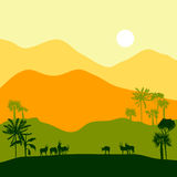 Vector landscape with antelopes. Hot african exotic background for banner or cover design, hand drawn illustration Royalty Free Stock Photography