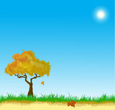 Vector landscape with Autumn leaves Stock Photography
