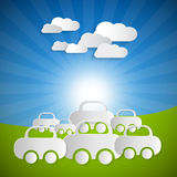 Vector Landscape Background. With Paper Cars and Clouds on Blue sky Stock Photography