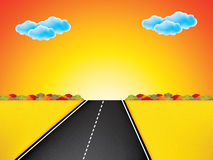 Vector landscape background. Road in golden yellow field, sunset, clouds on the sky Stock Photography