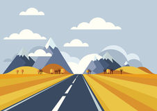Vector landscape background. Road in golden yellow wheat field,. Mountains, hills, clouds on the sky. Flat style illustration of autumn nature Royalty Free Stock Images