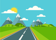Vector landscape background. Road in green valley, mountains, hi. Lls, clouds and sun on the sky. Flat style illustration of spring or summer nature Stock Images