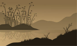 Vector landscape with bamboo silhouette Royalty Free Stock Image