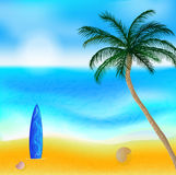 Vector landscape with beach and palm tree Royalty Free Stock Image