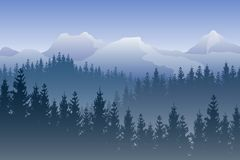 Vector landscape with blue forests and snowy mountains on the background. royalty free illustration