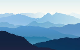 Vector landscape with blue silhouettes of hills and mountains wi. Th light blue sky royalty free illustration