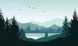 Vector landscape with blue silhouettes of mountains, hills and f. Orest and sky with clouds and birds royalty free illustration