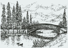 Vector landscape. Bridge over river and poplars along the road Royalty Free Stock Images