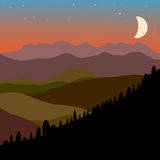 Vector landscape with brown, green and black  mountain hills sil. Vector landscape with brown, green and black mountain hills silhouette and moon, design Royalty Free Stock Photos
