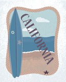 Vector landscape of California and surfboard Royalty Free Stock Photography