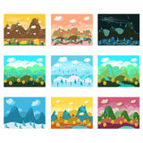 Vector Landscape Cartoon Seamless Backgrounds Set Stock Photography