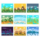 Vector Landscape Cartoon Seamless Backgrounds Set Royalty Free Stock Images