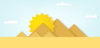 Vector landscape with the Egyptian pyramids. Royalty Free Stock Images