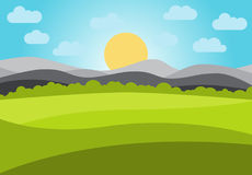 Vector landscape with field and mountains. Early morning with the rising of the sun on the horizon. Vector illustration Royalty Free Stock Images