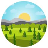 Vector landscape with field and trees and mountains in circle. Early morning with the rising of the sun on the horizon. Vector illustration Royalty Free Stock Photography