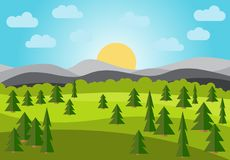 Vector landscape with field, trees and mountains. Early morning with the rising of the sun on the horizon. Vector illustration Royalty Free Stock Images