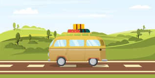 Vector landscape. fields and van. Road trip. Vacation Stock Image