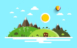 Vector Landscape. Flat Design Nature Scene Stock Images
